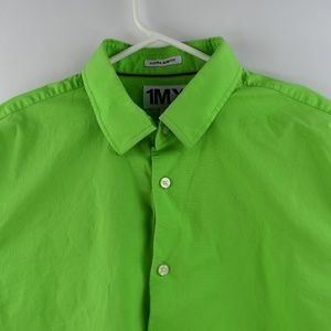 Express 1MX Mens Green Dress Shirt XL Extra Slim